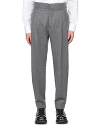 Alexander McQueen Grey Flannel Tailored Peg Trousers