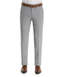 Ermenegildo Zegna High Performance Trofeo Wool Trousers Light Gray