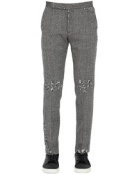 Palm Angels Skinny Fit Wool Herringbone Pants