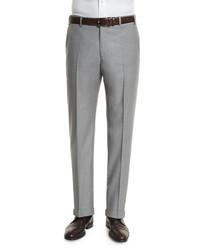 Zanella Parker Flat Front Wool Trousers Light Gray