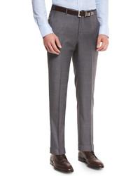 Ermenegildo Zegna Sharkskin Trofeo Wool Flat Front Trousers Light Gray
