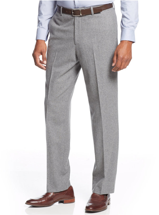 Tasso Elba Solid Wool Blend Flannel Pants Where To Buy