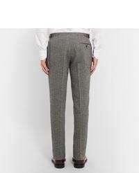 Thom Sweeney Grey Slim Fit Herringbone Wool Suit Trousers