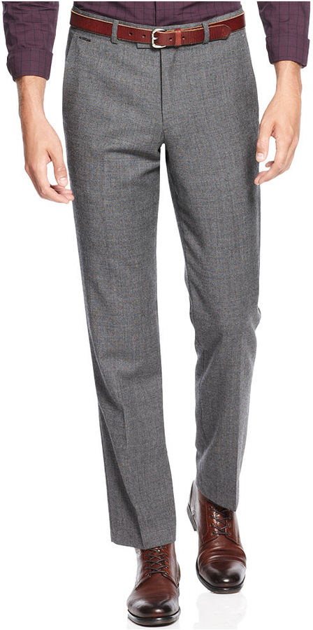 Grey Wool Dress Pants: Vince Camuto Slim Fit Notch Grey ...