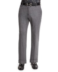 Salvatore Ferragamo Wool Flat Front Trousers Dark Gray