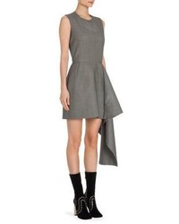 Alexander McQueen Birdseye Wool Drape Detail Dress