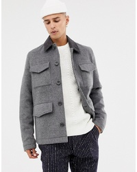 ASOS DESIGN Wool Mix Field Jacket With Cord Collar In Charcoal