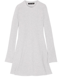 Proenza Schouler Ribbed Wool And Cashmere Blend Mini Dress Light Gray