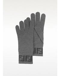 Fendi Gray Zucca Logo Wool Gloves