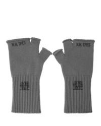 N. Hoolywood Grey Logo Fingerless Gloves