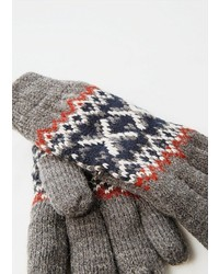 Mango Jacquard Wool Blend Gloves