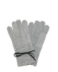 Jeanne Simmons Angora Lace Gloves With Bow Grey One Size