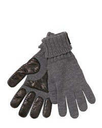 Saint Laurent Leather Wool Knit Gloves