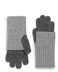 Saks Fifth Avenue BLACK Ribbed Knit Gloves