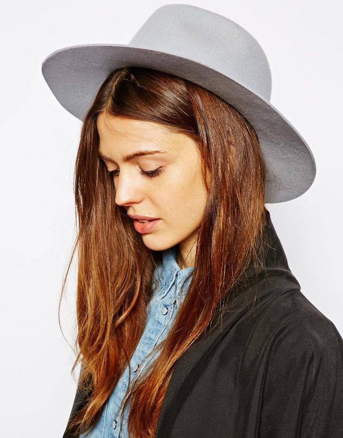 cb6359c438c77 ... Grey Wool Hats Asos Felt Fedora Hat Gray