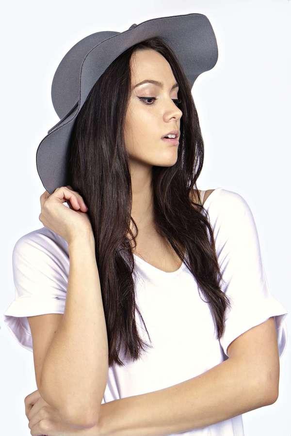 2ec11612 Boohoo Katy Ribbon Trim Floppy Brim Hat, $22 | BooHoo | Lookastic.com