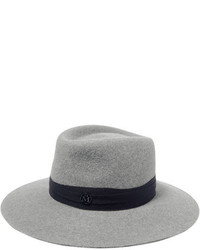 Maison Michel Charles Wool Trimmed Rabbit Felt Fedora Gray