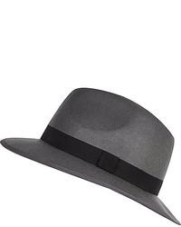 River Island Grey Felt Fedora Hat