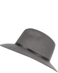 River Island Grey Leather Look Trim Fedora Hat