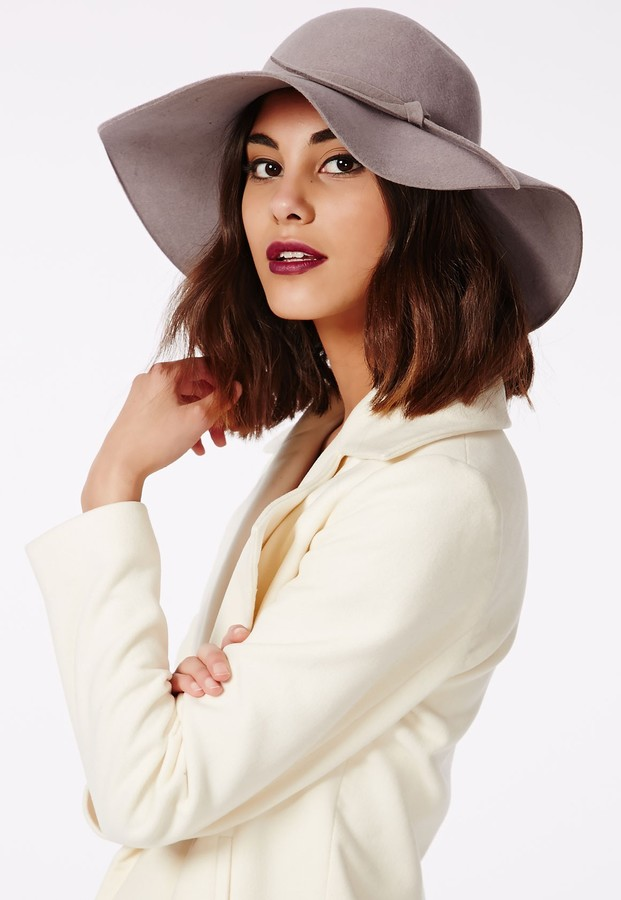... Wool Hats Missguided Dory Bow Detail Floppy Hat Grey ... f8f451bf253