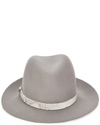 Rag and Bone Rag Bone Grey Snakeskin Wool Fedora Hat