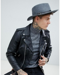 ASOS DESIGN Wide Brim Pork Pie In Grey Marl With Band Detail
