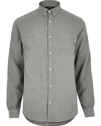 River Island Grey Flannel Long Sleeve Slim Shirt