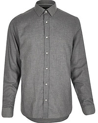 Grey smart flannel long sleeve shirt medium 355295