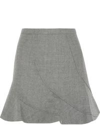 Flared wool mini skirt light gray medium 366656