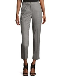 Michael Kors Michl Kors Collection Sam Cropped Stretch Wool Pants Gray