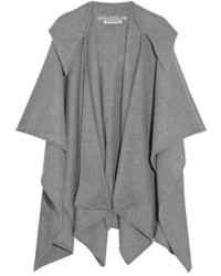 Balenciaga Hooded Wool And Cashmere Blend Poncho Gray