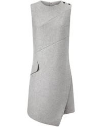 Grey wool sleeveless shift dress medium 424574