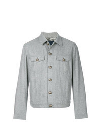 Grey Wool Shirt Jacket