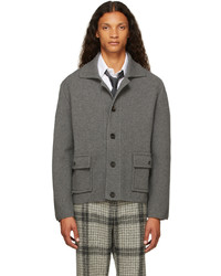 Thom Browne Grey Boiled Wool Rwb Stripe Jacket