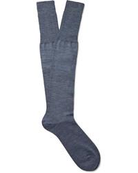 Bresciani Knee Length Mlange Wool Blend Socks