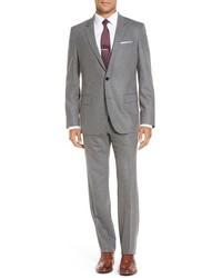 BOSS Hugegenius Trim Fit Solid Wool Blend Suit