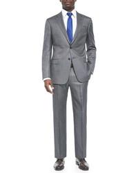 Armani Collezioni G Line Pindot Wool Suit Blacksilver
