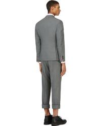 Thom Browne Grey Wool Crosshatched Suit