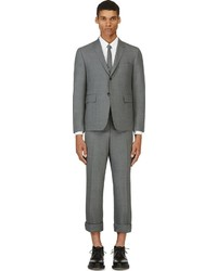 Thom Browne Grey Wool Crosshatched Suit