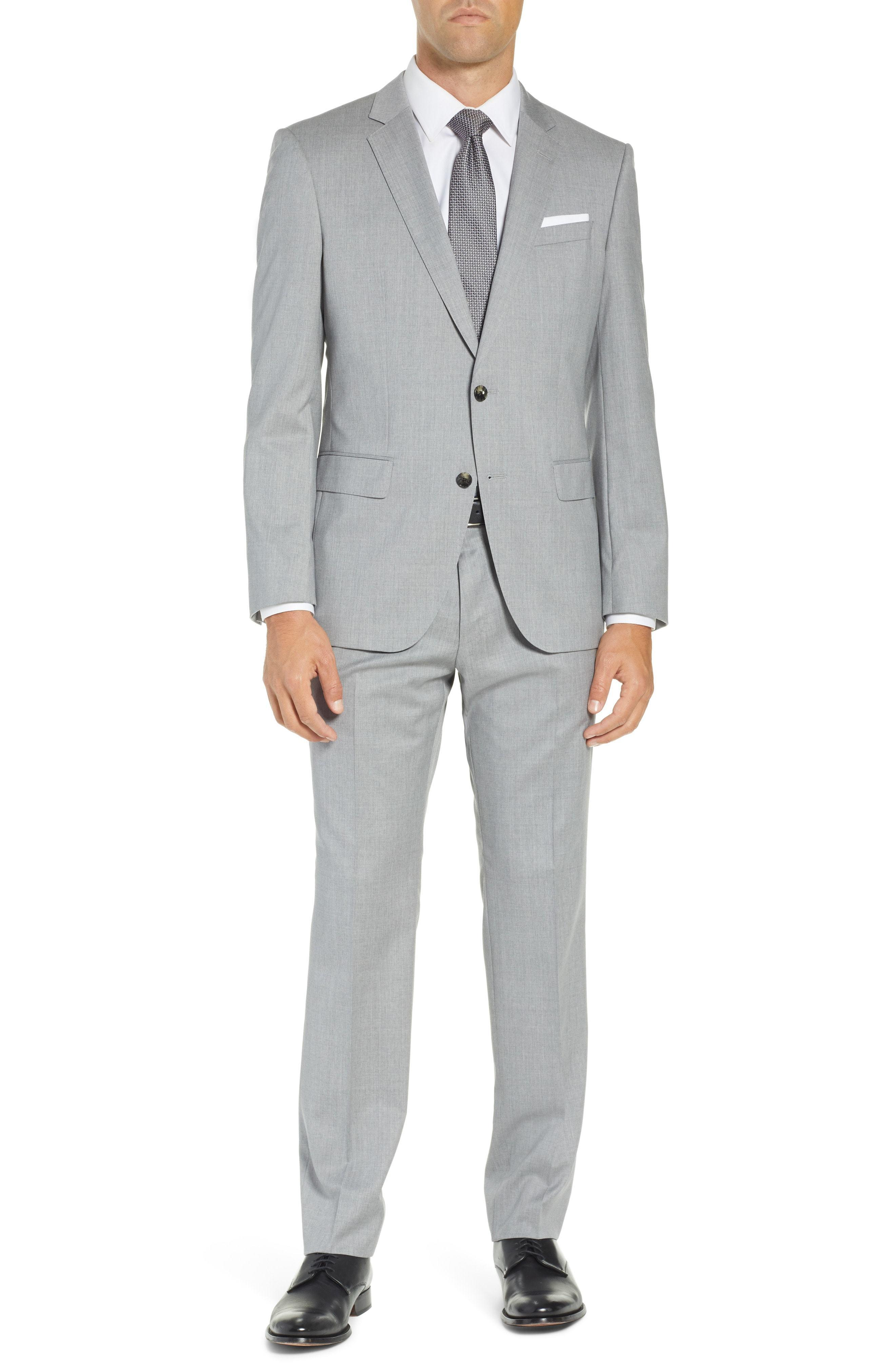 BOSS Hugegenius Trim Fit Solid Wool Suit
