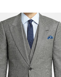 Lutwyche Grey Slim Fit Checked Wool Mohair And Cashmere Blend ...