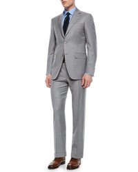 Canali Solid Wool Two Button Suit Pearl Gray