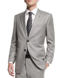 Giorgio Armani Taylor Solid Two Piece Wool Suit Light Gray