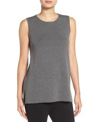 Eileen Fisher Round Neck Wool Crepe Long Tank