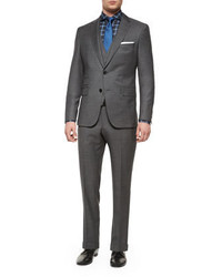 Boss Hugo Boss Three Piece Nailhead Wool Suit Gray