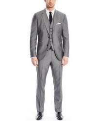 Hugo Boss Johnstonslenon We Regular Fit Wool Silk 3 Piece Suit 42l Grey