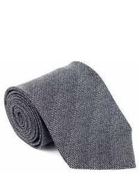 Tom Ford Grey Pure Wool Tonal Herringbone Wide Tie