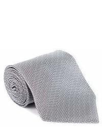 Tom Ford Grey White Wool Micro Square 4 Inch Wide Neck Tie