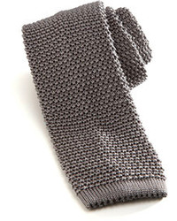 Knit silk tie gray medium 100299