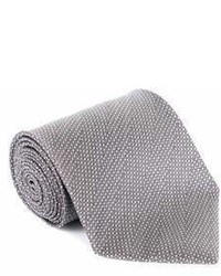 Tom Ford Tonal Grey Wool Micro Square 4 Inch Wide Neck Tie